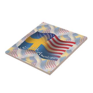 Swedish-American Waving Flag Small Square Tile