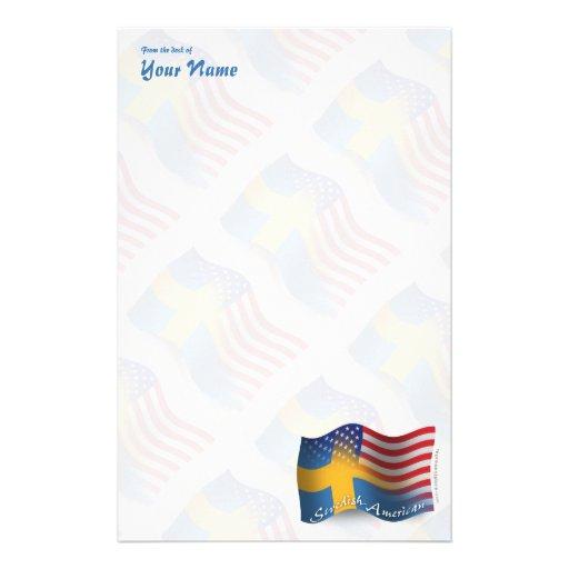 Swedish-American Waving Flag Customized Stationery