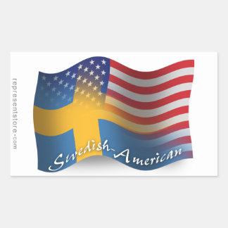 Swedish-American Waving Flag Rectangular Sticker