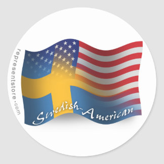 Swedish-American Waving Flag Classic Round Sticker