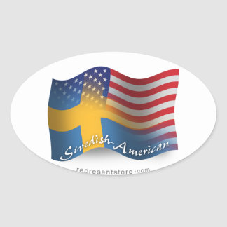 Swedish-American Waving Flag Oval Sticker