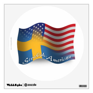 Swedish-American Waving Flag Wall Decal