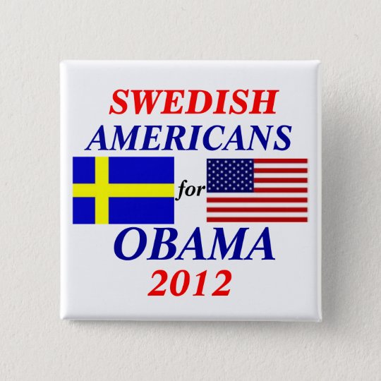 Swedish Americans for  Obama Pinback Button