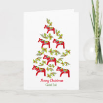 Swedish and English Dala Horse Christmas Tree Card