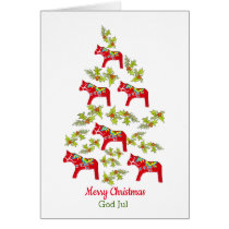 Swedish and English Dala Horse Christmas Tree Card