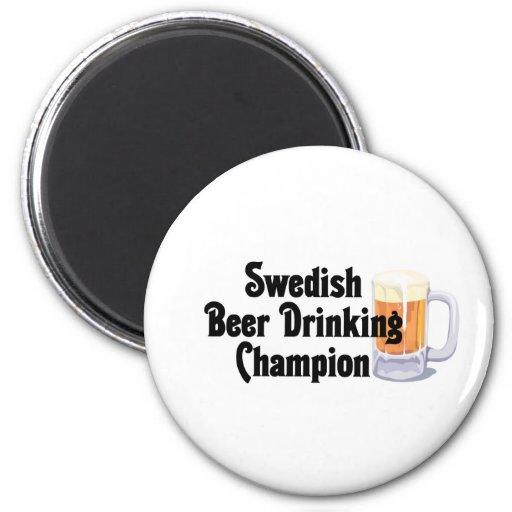 Swedish Beer Drinking Champion Fridge Magnets