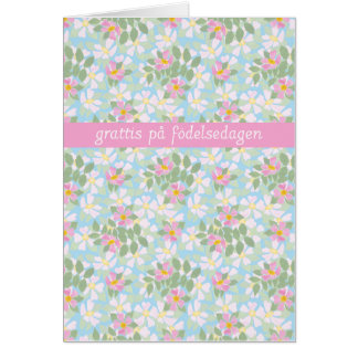 Swedish Birthday Card: Pink Dogroses on Blue Greeting Cards