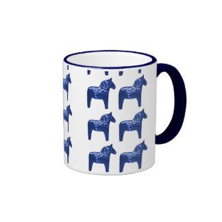 Swedish Blue Dala Horse Pattern Ringer Coffee Mug