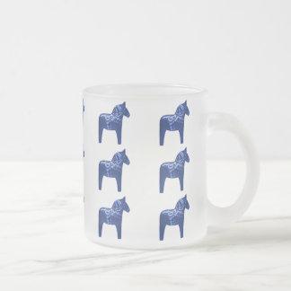 Swedish Blue Dala Horse Pattern 10 Oz Frosted Glass Coffee Mug