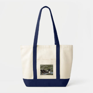 Swedish Blue Duck with Duckling Tote Bag