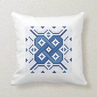 Swedish Blue Röllakan Outline Pattern Throw Pillow