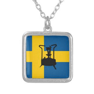 Swedish brass pressure stove square pendant necklace