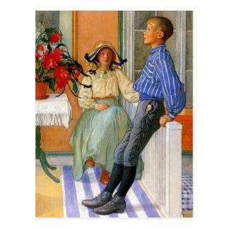 Swedish Brother and Sister 1911 Postcard