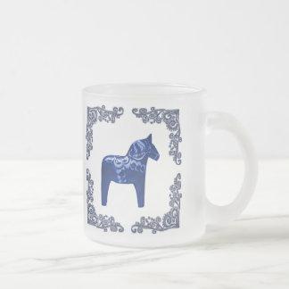 Swedish Bue Dala Horse with Blue Delft Scroll Frosted Glass Coffee Mug
