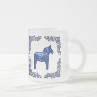 Swedish Bue Dala Horse with Blue Delft Scroll 10 Oz Frosted Glass Coffee Mug