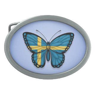 Swedish Butterfly Flag on Blue Belt Buckle
