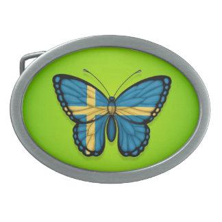 Swedish Butterfly Flag on Green Oval Belt Buckle