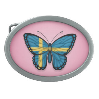 Swedish Butterfly Flag on Pink Belt Buckles