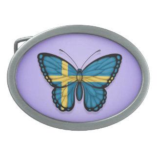 Swedish Butterfly Flag on Purple Belt Buckles