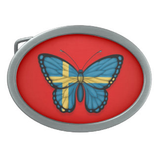 Swedish Butterfly Flag on Red Oval Belt Buckle