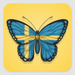 Swedish Butterfly Flag on Yellow Square Stickers
