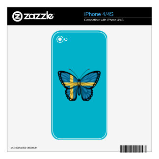 Swedish Butterfly Flag iPhone 4S Skins