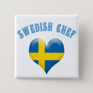 Swedish Chef Heart Shaped Flag of Sweden Button