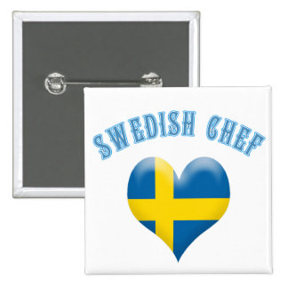 Swedish Chef Heart Shaped Flag of Sweden 2 Inch Square Button