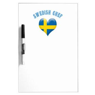 Swedish Chef Heart Shaped Flag of Sweden Dry Erase Board