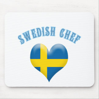 Swedish Chef Heart Shaped Flag of Sweden Mouse Pad