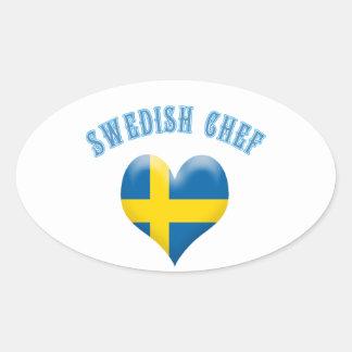 Swedish Chef Heart Shaped Flag of Sweden Sticker