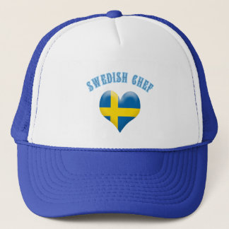 Swedish Chef Heart Shaped Flag of Sweden Trucker Hat