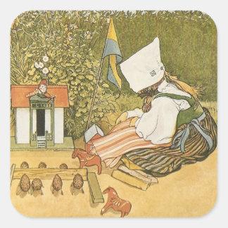 Swedish Child with Toys Square Sticker