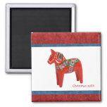 Swedish Christmas Dala Horse Custom Dated Fridge Magnet