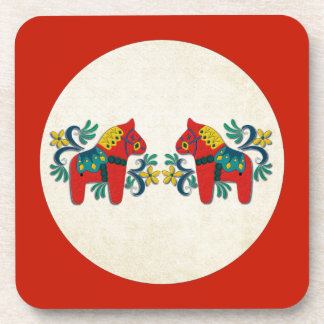 Swedish Christmas Dala Horse Scandinavian Twins Coaster