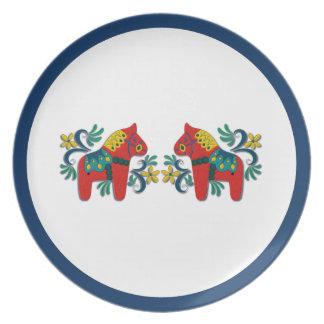 Swedish Christmas Dala Horse Scandinavian Twins Dinner Plate