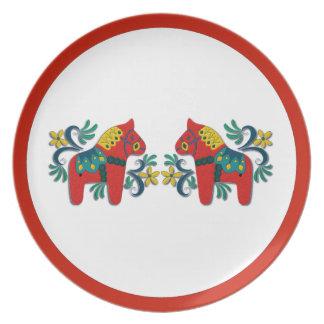 Swedish Christmas Dala Horse Scandinavian Twins Melamine Plate