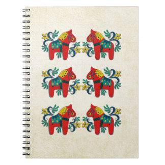 Swedish Christmas Dala Horse Scandinavian Twins Notebook