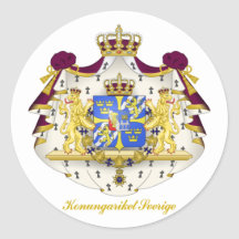 Swedish Coat of Arms Round Stickers