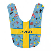 Swedish culture items with flag baby bib