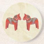 Swedish Dala Horse Christmas Twins Coasters