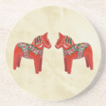 Swedish Dala Horse Christmas Twins Drink Coasters