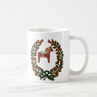 Swedish Dala Horse Christmas Wreath Coffee Mug