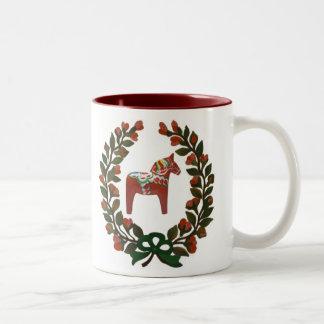Swedish Dala Horse Christmas Wreath Two-Tone Coffee Mug