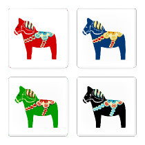Swedish Dala Horse Coaster Set