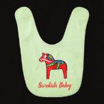 Swedish Dala Horse Colorful Scandinavian Baby Bib