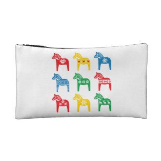 Swedish Dala Horse floral folk pattern Cosmetic Bag
