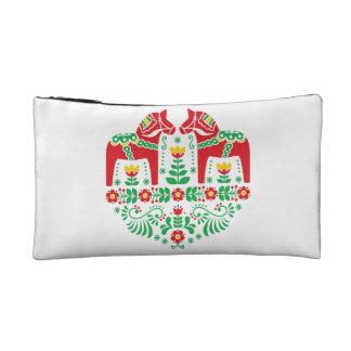 Swedish Dala Horse floral folk pattern Makeup Bag