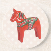 Swedish Dala Horse  Folk Art Drink Coaster