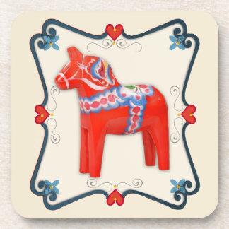 Swedish Dala Horse Folk Art Framed Beverage Coaster